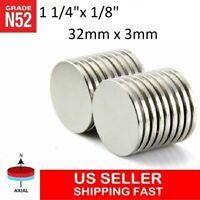 """10 25 50pc 32mm x 3mm 1 1/4""""x 1/8"""" N52 Strong Disc Rare Earth Neodymium Magnet"""