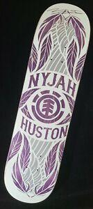 "Nyjah Huston Signed Element Purple Feathers Autograph Skateboard 8.00"" Pro Deck"