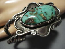 Heavy Thick Twist Wire Vintage Navajo Royston Turquoise Sterling Silver Bracelet