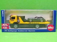 1:55 Siku Super 2712 Abschleppwagen Mercedes Atego ADAC mit Wiesmann GT olivgrün