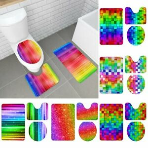 3Pcs Shiny Rainbown Bathroom Carpet Pedestal Rug Lid Toilet Cover Bath Mat Set