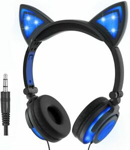 Cat Ear Foldable Headphones With LED Lights In Blue with Microphone Ariana Ears