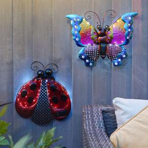 Solar Power Outdoor LED Butterfly Ladybird Novelty Fence Decoration | Garden