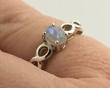 Rainbow Moonstone solid Sterling Silver ring, faceted, UK size L 1/2, Oval, New.
