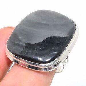 Silversheen Obsidian Gemstone Handmade 925 Silver Jewelry Ring Size 8.5 RAJ-345