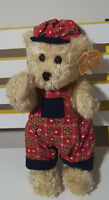 TREASURED TEDDIES TEDDY BEAR TOY WITH TAGS RED OVERALLS WITH TEDDY BEARS 33CM!