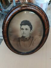 Antique Tiger Oak Oval Picture Frame With Convex Bubble Glass 23 x 17