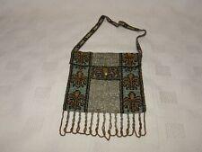 Antique French Made Metal Micro Beaded Bead Bag Purse - Fleur de lys