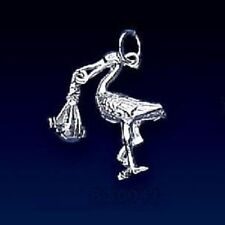 Brand New in pack Sterling Silver Stork & Baby Charm