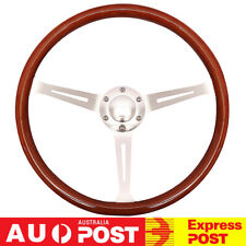 "15"" 380mm Wooden Steering Wheel Grain Silver Brushed Spoke Horn Classic Wood New"