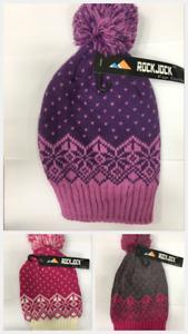 ROCK JOCK GIRLS  Pompom Hat  Bobble Winter Warm Faux Fur
