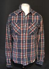 Hollister Men's Shirt Red Blue White Check Long Sleeve 100% Cotton Medium