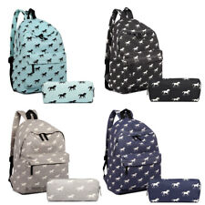Boys Girls Retro School Backpack Horse Print Travel Rucksack Match Pencil Case