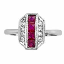 14K White Gold 0.60ct Ruby and Diamond Ring
