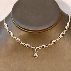 Genuine Ruby Sterling Silver Choker Necklace July Birthstone Red Natural 925
