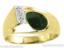 Mens Diamond Ring Jade 14K Yellow Gold Band
