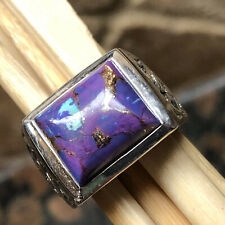 Gorgeous Purple Copper Turquoise 925 Sterling Silver Men's Ring Size 7