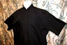 "Mens XL Clergy Shirt Black Churchwear 65% polyester 35% Cotton Neck 17"""