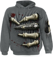 Spiral Direct DEATH GRIP - Hoodie Biker/Tattoo/Skeletons/Gothic/Ribcage/Skull