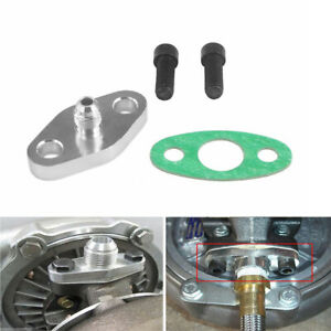 T3 T4 Turbo Oil Feed AN4 Restrictor Flange Adapter Gasket M8 x 1.25 Bolts Kit