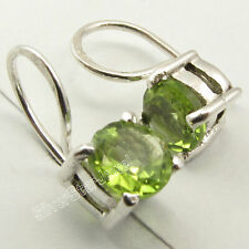 "925 Sterling Silver Facetted Peridot Dangle Earrings 0.6"" Women's Gems Jewelry"