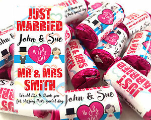 x40 Wedding Favours Personalised Love Hearts Mini Love Sweets Just Married #2