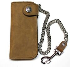 7 inch Deluxe Biker Wallet with Chain -Side Snap Concho - Brown- USA MADE