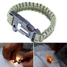 Survival Bracelet Outdoor Paracord Flint Fire Starter Scraper Whistle Kits Green