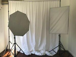 Studio set up with Godox softbox light set & backdrop