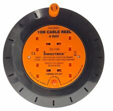 4Way 13A Main Sockets 10Meter Power Cord Cable Reel with Thermal Cut Out