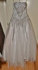 Alyce Strapless White Dress with Silber Sequence – Size 10 – New with Tag