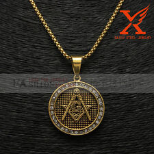 "Stainless Steel Black Gold Freemason Masonic  Pendant Necklace Box Chain 24"" 3MM"