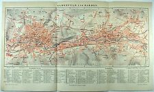Original 1889 City Map of Elberfeld and Barmen, Wuppertal, Germany by Meyers
