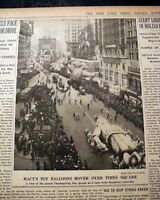 EARLY HELIUM BALLOONS Macy's Thanksgiving Day Parade w/ Photo 1934 NYC Newspaper