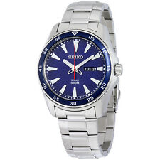 Seiko Solar Blue Dial Stainless Steel Mens Watch SNE391