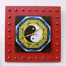 Bois Horloge Murale D'Asie Style Amour Caractères Chinois Déco Vintage Rétro