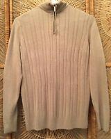 Geoffrey Beene Mens Pullover Sweater Sz Large Beige Classic 1/2 Zip Long Sleeve
