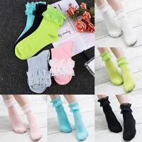 Women Girl Ankle Fancy Retro Lace Ruffle Frilly Princess Lolita Wear Short Socks