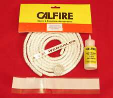 6mm Stove Sealing Rope Kit - Fire Rope - 2mtr length - White - C/w Adhesive+Tape