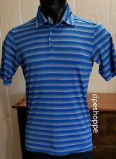 Under Armour Loose Heat Gear Blue Striped Polo Golf Casual Shirt Sz S **NOTE: