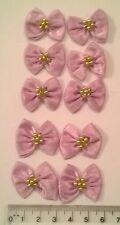 RIBBON BOWS x 10  Satin Large - Craft Wedding Baby Bunting Sew - Lilac