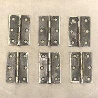"""(6) Antique Vintage Cabinet Hinges 2-3/8"""" x 1-3/4"""" Steel"""