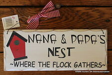 Nana and Papa's Nest Wall Plaque wooden sign home decor lightweight Grandparents