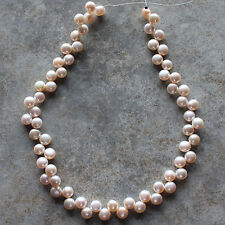 Light Peach Flat-Sided Round Genuine Freshwater Pearl 7mm Beads Strand 15""