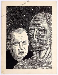 Untitled: Two Heads. Pen and ink on card by Robert E. Gilbert. 1954, 8.5 x 11.