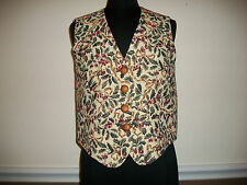 Talbots Size M Holiday Tapestry Vest with Holly, Ribbons, and Berries, Back Tie
