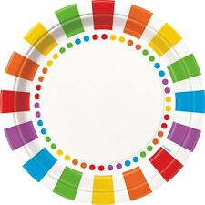 RAINBOW DOTS and STRIPES LARGE PAPER PLATES (8) ~ Birthday Party Supplies Color
