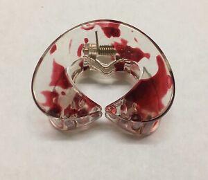 Elegant Red Acrylic Medium Hair Claw Clip