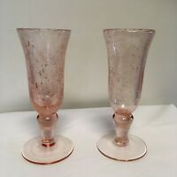 2 Vintage Pink Champagne Flute Footed Wine Glasses Controlled Bubble Glass 6 oz
