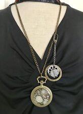 Pocket Watch Case Pendant OOAK w Steampunk Altered Art handmade USA 28 inch 688